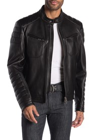 BOSS Nirkan Moto Lamb Leather Jacket