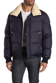 BOSS Faux Shearling Collar Puffer Jacket