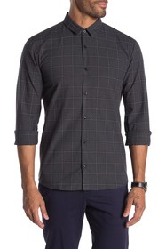 BOSS Button Front Plaid Print Extra Slim Fit Shirt