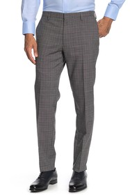 BOSS Gray Plaid Single Pleat Wool Suit Separates P