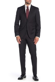 BOSS Ryan Black Solid Two Button Notch Lapel Wool