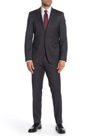 BOSS Ryan Grey Solid Two Button Notch Lapel Wool S