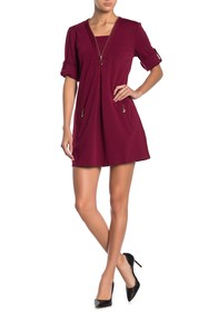 Papillon Zipper Trim 3/4 Sleeve Dress