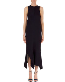 Victoria Beckham Handkerchief-Hem Midi Dress with