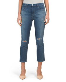 J BRAND Ruby High Waist Cropped Cigarette Jeans