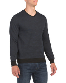 VINCE CAMUTO Mixed Yarn V-neck Pullover Sweater
