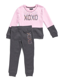XOXO Little Girls 2pc Sequin Pullover Fleece Jogge