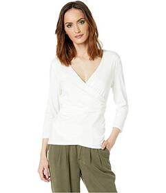 Vince Camuto 3\u002F4 Sleeve Wrap Front Knit Top