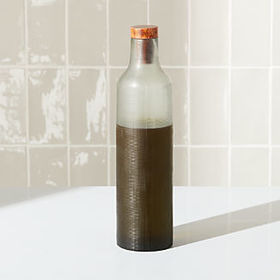 Crate Barrel NewEtched Glass Oil/Vinegar Bottle wi