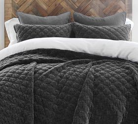 Pottery Barn Velvet Lattice Quilt & Shams