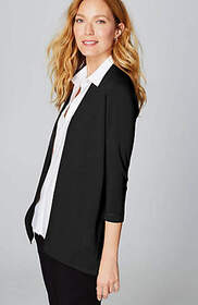 Linen & Rayon Open-Front Cardi