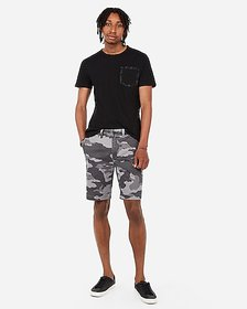 Express 9 inch camo flat front shorts