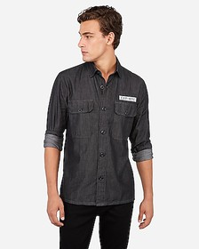 Express slim EXP nyc military graphic shirt