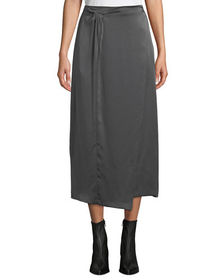 Vince Paneled Knot-Front Silk Midi Skirt