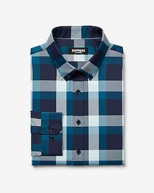 Express extra slim plaid button-down wrinkle-resis