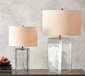Pottery Barn Blaine Recycled Glass Table Lamp Base