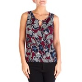 EMI & JOE Surplice Floral Puff Paint Sleeveless To