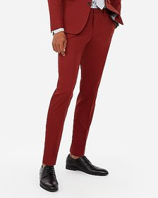 Express extra slim red cotton blend suit pant