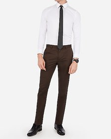 Express extra slim brown oxford stretch cotton sui