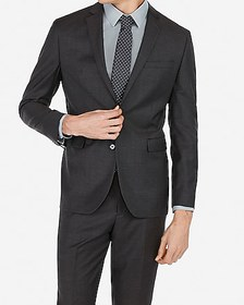 Express slim charcoal wool-blend stretch suit jack