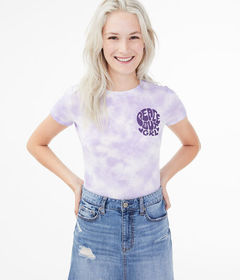 Aeropostale Peace Out Grl Tie-Dye Graphic Tee