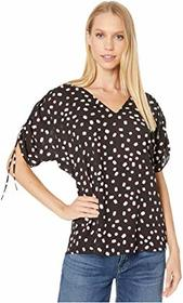 Kate Spade New York Mallow Dot Ruched Sleeve Top