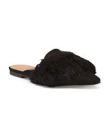 HALSTON HERITAGE Faux Fur Pointed Toe Mules