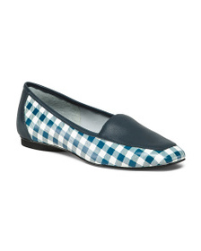 reveal designer Gingham Leather Loafers