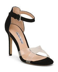 CHARLES DAVID Suede And Vinyl Ankle Strap Heels