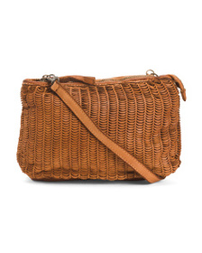 VALENTINA Made In Italy Leather Woven Crossbody