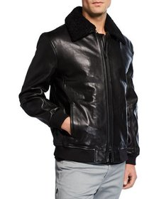 Kenneth Cole New York Men's Leather Sherpa-Collar