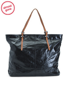 LATICO Leather Tote With Contrast Handles
