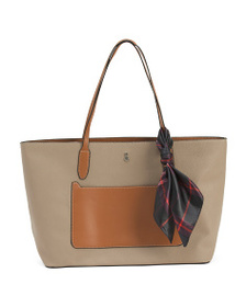 LONDON FOG Mercer Tote With Plaid Scarf