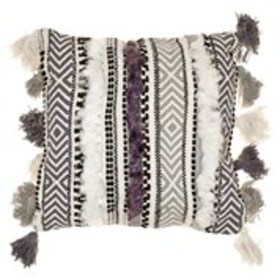 CATHERINE MALANDRINO Striped Tuft Throw Pillow 18""