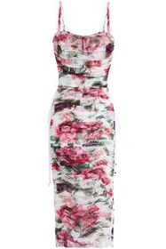 DOLCE & GABBANA Ruched floral-print cotton and sil