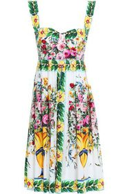 DOLCE & GABBANA Pleated printed cotton-poplin dres
