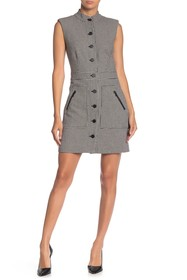 VERONICA BEARD Leigh Button-Front Houndstooth Mini