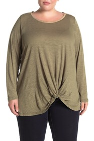 Seven7 Front Twist Embellished Crew Neck Top (Plus