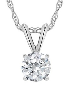 Certified Round Diamond Solitaire Pendant Necklace