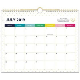 2019-2020 Gold Dot Academic Wall Calendar Gold/Whi