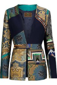 ETRO Patchwork embellished wool-crepe, jacquard an
