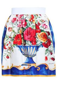 DOLCE & GABBANA Gathered printed silk-faille mini