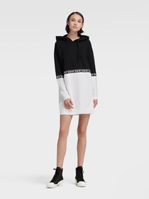 Donna Karan BOXY HOODIE DRESS WITH LOGO TAPING