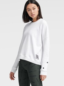 Donna Karan CREW NECK PULLOVER WITH SNAP PANEL