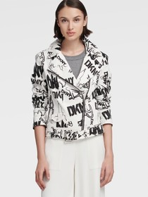 Donna Karan LOGO CANVAS MOTO JACKET