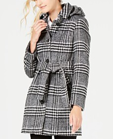 Calvin Klein Hooded Belted Coat, Created For Macy'