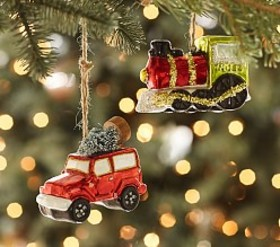 Pottery Barn Car & Train Mercury Glass Ornaments