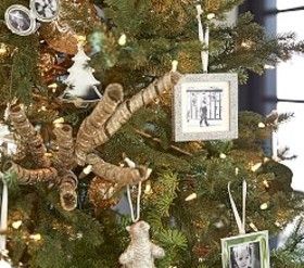 Pottery Barn Silver Glitter Ornaments