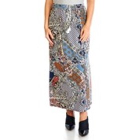 EMI & JOE Foil Print Maxi Skirt with Tassel Tie