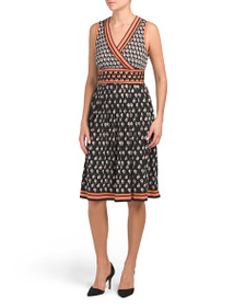 MAX STUDIO Printed Stacked Daisy Leaf Jersey Dress